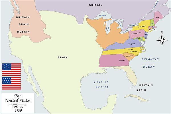 History map of USA 1789