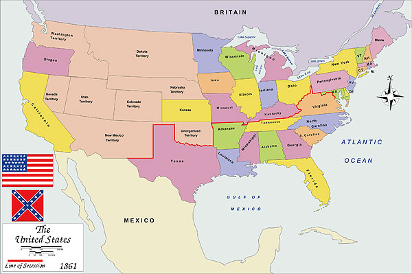 History map of USA 1861