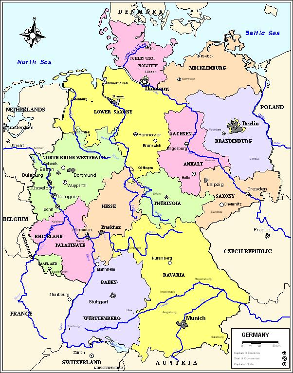 Germany Political Map,  Germany