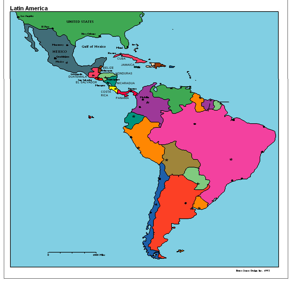 Latin America Political map, USA, U S, U S A