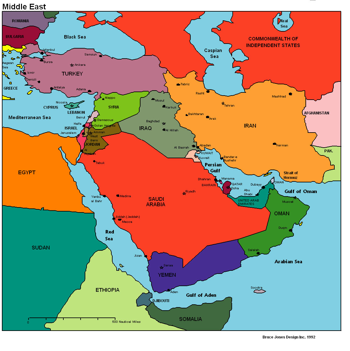 Middle East Political map, Middle East