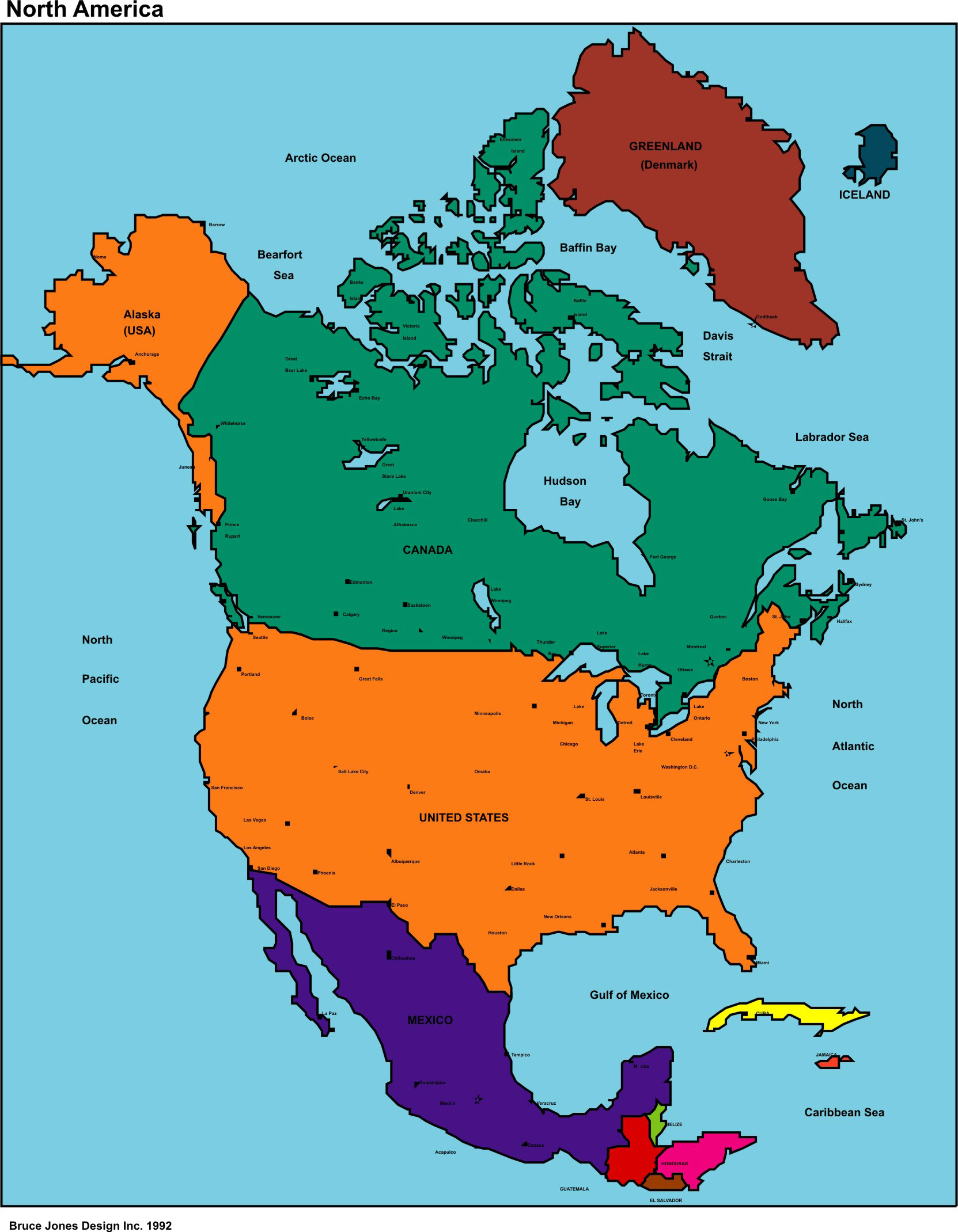 North America Political map, USA, U S, U S A