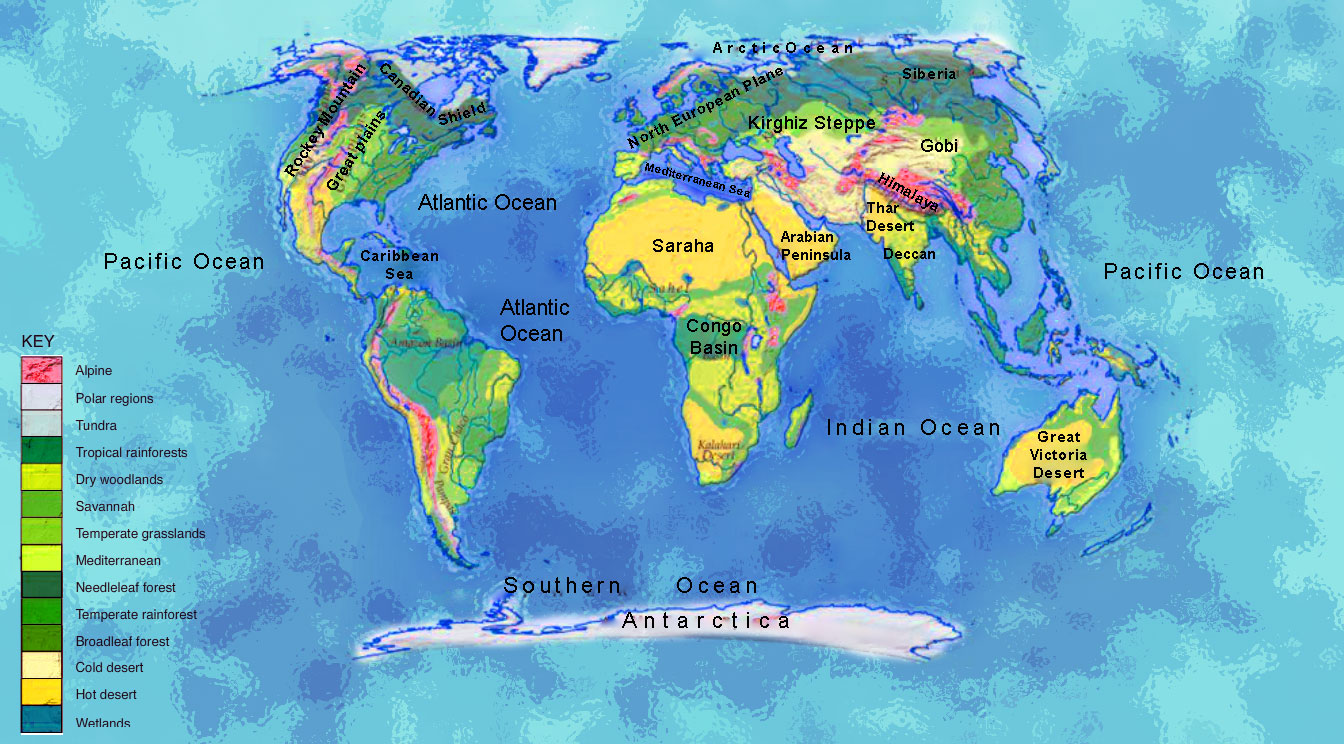Bio-geographical regions of world