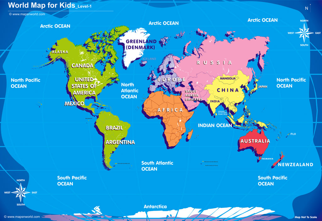 World Map for kids, Free world map royalty free, ZOOM to Enlage view